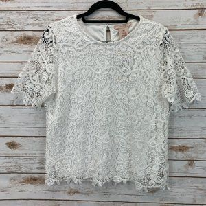 Philosophy Apparel Short Sleeve Lace Top